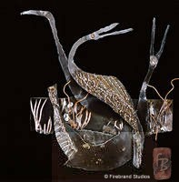 3 Cranes Metal Sculpture